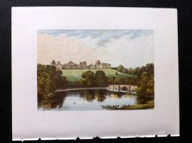 Morris Seats 1860's Antique Print. Blenheim Palace. Oxford